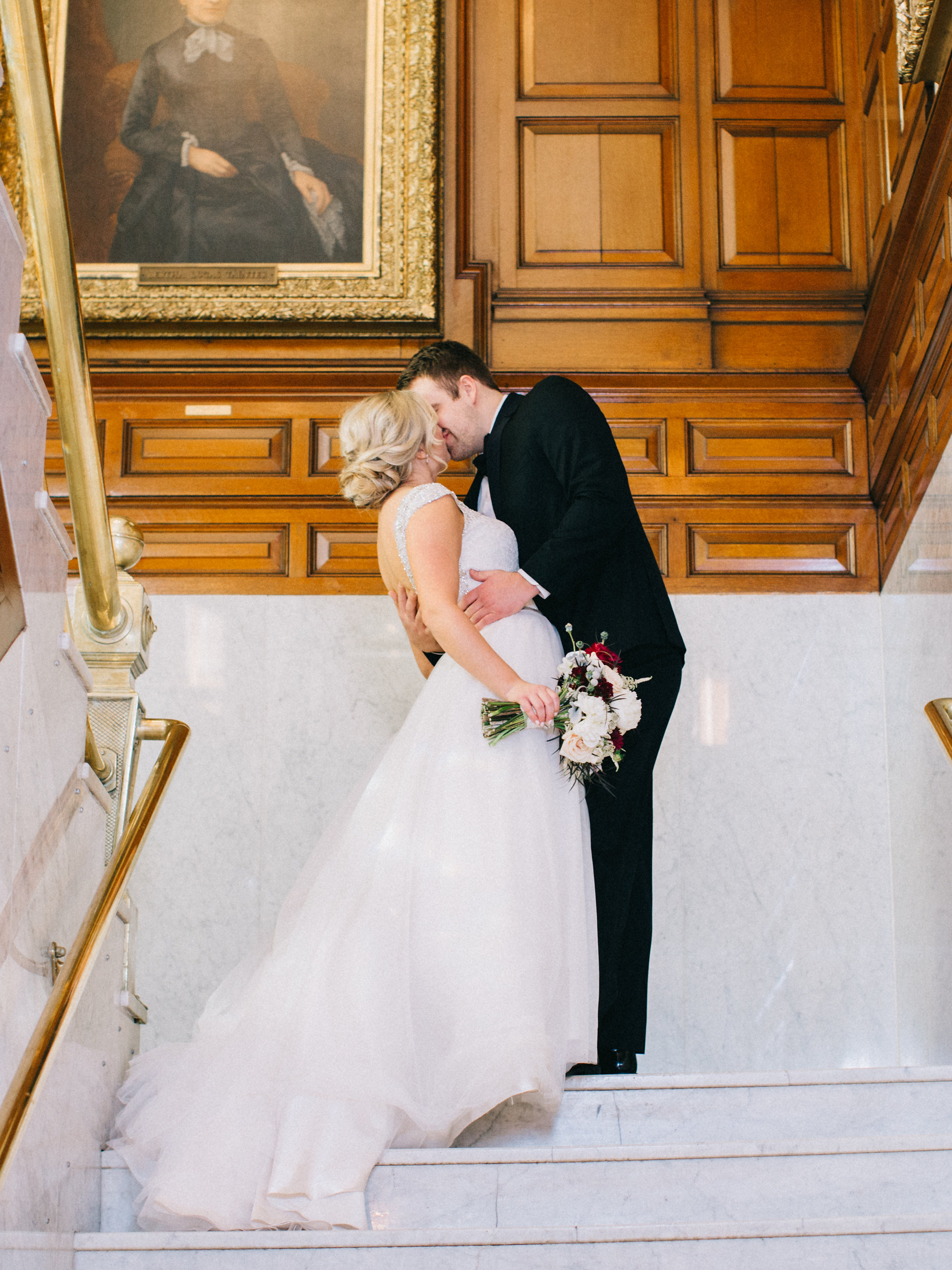 Mabel Bride & Groom Main Staircase Kissing